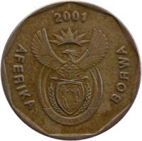 obverse of 20 Cents - AFORIKA BORWA (2000 - 2001) coin with KM# 225 from South Africa. Inscription: AFERIKA BORWA 2000 ALS