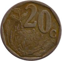 reverse of 20 Cents - AFORIKA BORWA (2000 - 2001) coin with KM# 225 from South Africa. Inscription: 20c SE