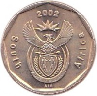 obverse of 20 Cents - SOUTH AFRICA (2002) coin with KM# 270 from South Africa. Inscription: South Africa 2002 ALS