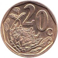 reverse of 20 Cents - AFORIKA BORWA (2003) coin with KM# 327 from South Africa. Inscription: 20c SE