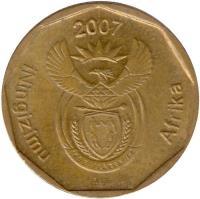 obverse of 20 Cents - ININGIZIMU AFRIKA (2007) coin with KM# 342 from South Africa. Inscription: iNingizimu Afrika 2007 ALS