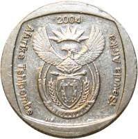 obverse of 2 Rand - AFURIKA TSHIPEMBE - ISEWULA AFRIKA (2004) coin with KM# 336 from South Africa. Inscription: 2004 Afurika Tshipembe iSewula Afrika ALS