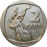 reverse of 2 Rand - AFURIKA TSHIPEMBE - ISEWULA AFRIKA (2004) coin with KM# 336 from South Africa. Inscription: 2 RAND ALS