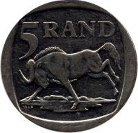 reverse of 5 Rand - ININGIZIMU AFRIKA (1996 - 2000) coin with KM# 166 from South Africa. Inscription: 5 RAND ALS