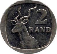 reverse of 2 Rand - UMZANTSI AFRIKA (1996 - 2000) coin with KM# 165 from South Africa. Inscription: 2 RAND ALS
