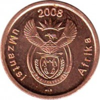 obverse of 5 Cents - UMZANTSI AFRIKA (2008) coin with KM# 440 from South Africa. Inscription: 2008 uMzantsi Afrika ALS