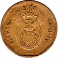 obverse of 20 Cents - ISEWULA AFRIKA (2008) coin with KM# 442 from South Africa. Inscription: iSewula Afrika 2008 ALS