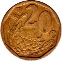 reverse of 20 Cents - ISEWULA AFRIKA (2008) coin with KM# 442 from South Africa. Inscription: 20c SE