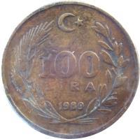 reverse of 100 Lira (1988 - 1996) coin with KM# 988 from Turkey. Inscription: 100 LİRA 1990