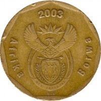 obverse of 50 Cents - Afrika Borwa (2003) coin with KM# 330 from South Africa. Inscription: Afrika Borwa 2003 ALS