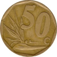 reverse of 50 Cents - Afrika Borwa (2003) coin with KM# 330 from South Africa. Inscription: 50c LL