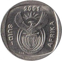 obverse of 1 Rand - SUID-AFRIKA (2000 - 2001) coin with KM# 227 from South Africa. Inscription: 2000 SUID-AFRIKA ALS