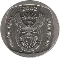 obverse of 5 Rand - AFURIKA TSHIPEMBE - ISEWULA AFRIKA (2002) coin with KM# 274 from South Africa. Inscription: 2002 Afurika Tshipembe iSewula Afrika ALS