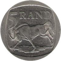 reverse of 5 Rand - AFURIKA TSHIPEMBE - ISEWULA AFRIKA (2002) coin with KM# 274 from South Africa. Inscription: 5 RAND ALS