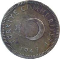 obverse of 50 Kuruş (1947 - 1951) coin with KM# 882 from Turkey. Inscription: TÜRKİYE CUMHURİYETİ 1947