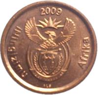 obverse of 5 Cents - ININGIZIMU AFRIKA (2009) coin with KM# 464 from South Africa. Inscription: 2009 iNingizimu Afrika ALS