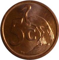 reverse of 5 Cents - ININGIZIMU AFRIKA (2009) coin with KM# 464 from South Africa. Inscription: 5c GJR