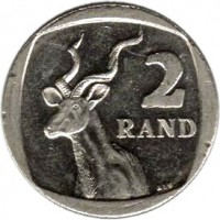 reverse of 2 Rand - SUID-AFRIKA - AFRIKA BORWA (2010 - 2012) coin with KM# 498 from South Africa. Inscription: 2 RAND ALS