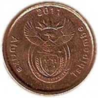 obverse of 5 Cents - AFURIKA TSHIPEMBE (2011) coin with KM# 500 from South Africa. Inscription: 2011 Afurika Tshipembe ALS