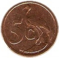 reverse of 5 Cents - AFURIKA TSHIPEMBE (2011) coin with KM# 500 from South Africa. Inscription: 5c GJR