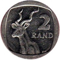 reverse of 2 Rand - UMZANTSI AFRIKA - SUID AFRIKA (2011) coin with KM# 505 from South Africa. Inscription: 2 RAND ALS