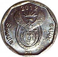 obverse of 10 Cents - ISEWULA AFRIKA (2012) coin from South Africa. Inscription: 2012 Afrika Isewula ALS