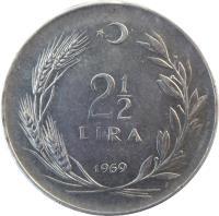 reverse of 2 1/2 Lira (1960 - 1980) coin with KM# 893 from Turkey. Inscription: 2 1/2 LİRA 1978