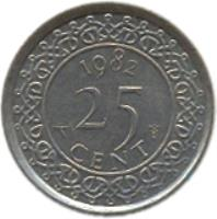 reverse of 25 Cents - Juliana (1962 - 1986) coin with KM# 14 from Suriname. Inscription: 1976 25 CENT