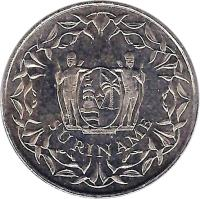 obverse of 100 Cents (1987 - 2014) coin with KM# 23 from Suriname. Inscription: SURINAME