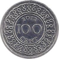 reverse of 100 Cents (1987 - 2014) coin with KM# 23 from Suriname. Inscription: 1987 100 CENT