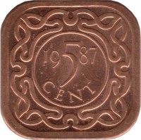 reverse of 5 Cents (1987 - 2015) coin with KM# 12.1b from Suriname. Inscription: 19 5 78 CENT