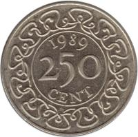 reverse of 250 Cents (1987 - 2012) coin with KM# 24 from Suriname. Inscription: 1989 250 CENT