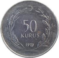 reverse of 50 Kuruş (1971 - 1979) coin with KM# 899 from Turkey. Inscription: 50 KURUS 1972