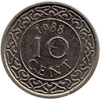 reverse of 10 Cents - Magnetic (1987 - 2014) coin with KM# 13a from Suriname. Inscription: 1989 10 CENT