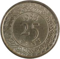 reverse of 25 Cents (1987 - 2014) coin with KM# 14a from Suriname.