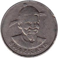 obverse of 1 Lilangeni - Sobhuza II - FAO (1981) coin with KM# 32 from Swaziland. Inscription: SWAZILAND