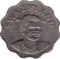 obverse of 20 Cents - Mswati III (1996 - 2005) coin with KM# 50 from Swaziland. Inscription: SWAZILAND