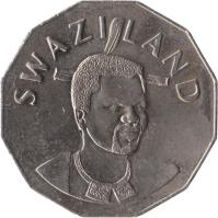 obverse of 50 Cents - Mswati III (1996 - 2007) coin with KM# 52 from Swaziland. Inscription: SWAZILAND