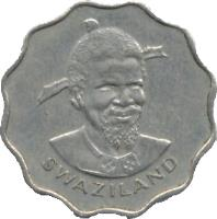 obverse of 5 Cents - Sobhuza II (1974 - 1979) coin with KM# 9 from Swaziland. Inscription: SWAZILAND