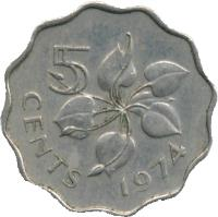 reverse of 5 Cents - Sobhuza II (1974 - 1979) coin with KM# 9 from Swaziland. Inscription: 5 CENTS 1979