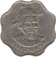 obverse of 10 Cents - Sobhuza II (1974 - 1979) coin with KM# 10 from Swaziland. Inscription: SWAZILAND