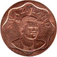 obverse of 10 Cents - Mswati III (2009 - 2011) coin with KM# 57 from Swaziland. Inscription: SWAZILAND
