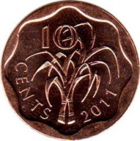 reverse of 10 Cents - Mswati III (2009 - 2011) coin with KM# 57 from Swaziland. Inscription: 10 CENTS 2011
