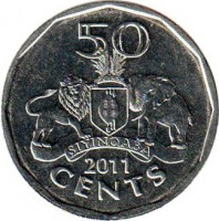 reverse of 50 Cents - Mswati III (2011) coin with KM# 59 from Swaziland. Inscription: 50 SIYINQABA 2011 CENTS