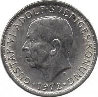 obverse of 5 Kronor - Gustaf VI Adolf (1972 - 1973) coin with KM# 846 from Sweden. Inscription: GUSTAF VI ADOLF SVERIGES KONUNG 1972