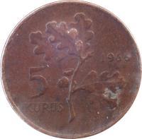 reverse of 5 Kuruş (1958 - 1974) coin with KM# 890 from Turkey. Inscription: 5 KURUS 1964