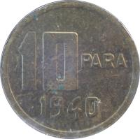 reverse of 10 Para (1940 - 1942) coin with KM# 868 from Turkey. Inscription: 10 PARA 1941