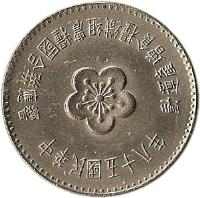obverse of 1 Yuan - FAO (1969) coin with Y# 547 from Taiwan.