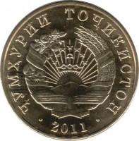 obverse of 5 Diram (2011) coin with KM# 23 from Tajikistan. Inscription: · ҶУМҲУРИИ ТОҶИКИСТОН · 2011