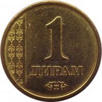 reverse of 1 Diram (2011) coin with KM# 35 from Tajikistan. Inscription: 1 ДИРАМ